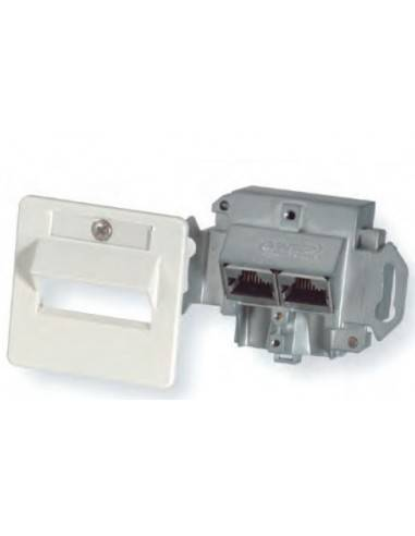 FLOOR OUTLET, 2 PORTS, CAT 6, SHIELDED, ALMOND COMMSCOPE - 1
