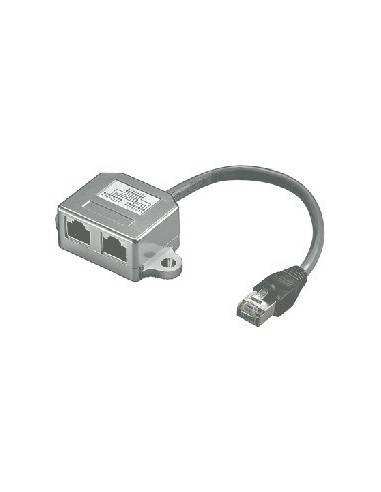 Modular T-Adapter, Pinout CAT.5 and ISDN, STP, RJ45 male - 2x RJ45 female - 0.15m  - 1