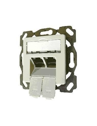SETEC Design 10GBit CAT.6a wallplate UPEK, 2x RJ45 STP, RAL9010, 500MHz, vertical - top / bottom  - 1