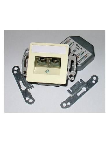 SETEC CAT.6a wallplate UPEK, 2x RJ45 STP, RAL1013, vertical - top / bottom  - 1