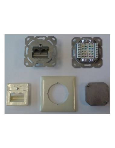 MegaD CAT.6a wallplate, UP, 2x RJ45 STP, RAL1013, 500MHz, vertical - top / bottom MegaD - 1