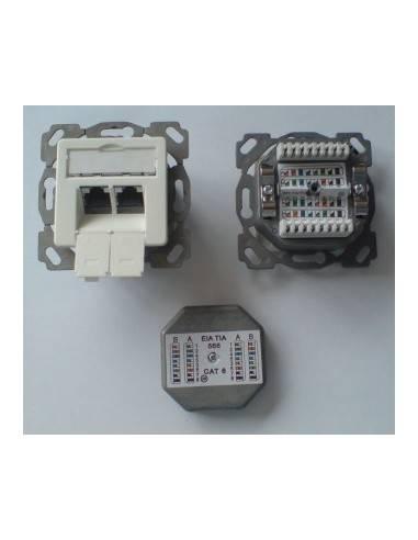 MegaD CAT. 6a wallplate, UPEK, 2x RJ45 STP, RAL1013, 500MHz, horizontal - left / right MegaD - 1