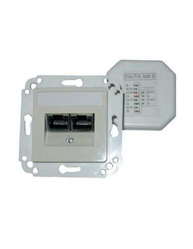 SETEC CAT.5e wallplate UPEK, 2x RJ45 UTP, RAL1013, horizontal - left / right  - 1