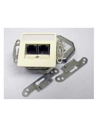 SETEC CAT.5e wallplate UPEK, 2x RJ45 STP, RAL9010, horizontal - left / right  - 1