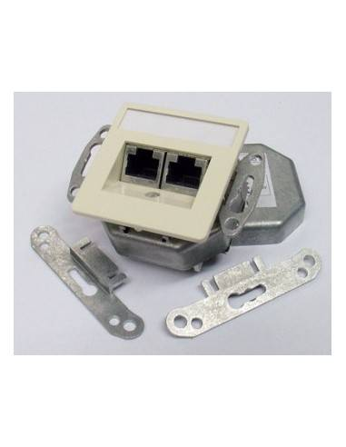 SETEC CAT.5e wallplate UPEK, 2x RJ45 STP, RAL1013, horizontal - left / right  - 1