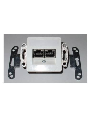 SETEC CAT.5e wallplate UPEK, 2x (2x )RJ45 STP, RAL9010  - 1