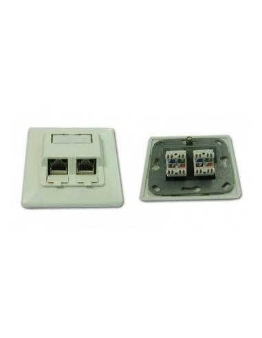 cat. 5e wallplate UP RAL9010, 2x RJ45, UTP, complete MegaC MegaC - 1