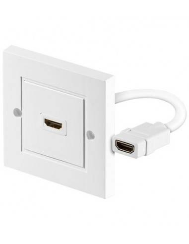 HDMI wallplate, 1x HDMI A female, shielded, RAL9010  - 1