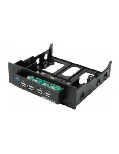 "USB2.0 Hub, internal, 4port, black, 4x USB A, incl.Cable, 5.25"" Frame  - 1"