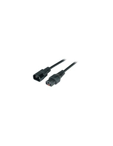 Power Extension Cable 10A, power C13 male - power C14 female with IEC lock black  - 1