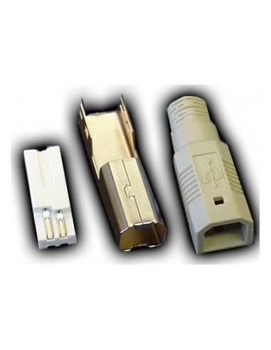 USB Plug Type B 4-pin, solder version, included strain relief boot  - 1