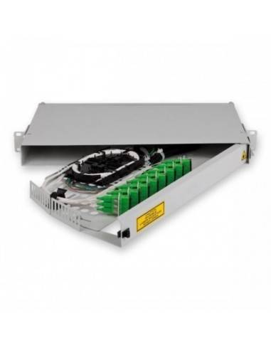 Fiber optic panel for 12 SC simplex adapters, hinged 1U MICOS Telecom Division - 2