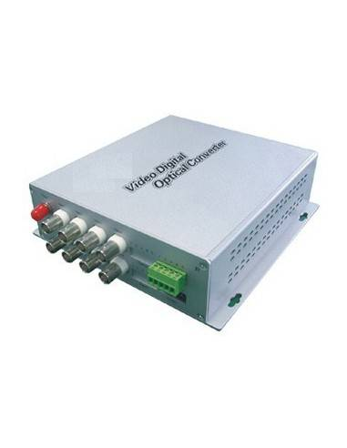 Video to fiber optic converter, 8 channel video + 1 channel audio, pair  - 1