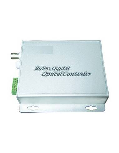 Video to fiber optic converter, 2 channel video + 1 channel audio, pair  - 1