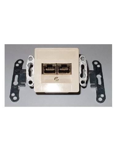 SETEC CAT.5e wallplate UPEK, 2x (2x )RJ45 STP, RAL1013  - 1