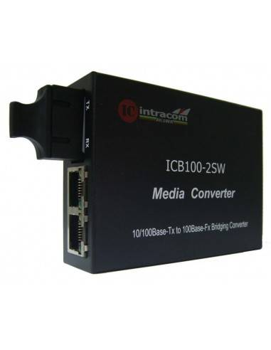 Медиа конвертор 10/100М Сингъл мод, две влакна + 2xRJ45 порта - 20 км, ICB  - 1