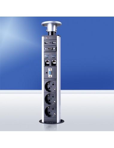 Колонка за бюро с контакти Шуко, USB, RJ45, VGA и HDMI портове