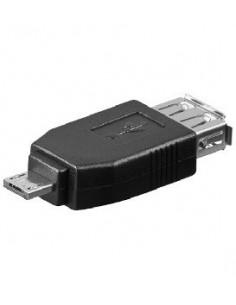 USB 2.0 адаптер,  USB 2.0 A женски - USB 2.0 Micro A мъжки, черен цвят