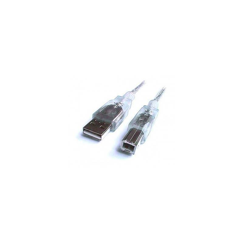 USB2.0 Hi-Speed Cable, shielded, USB A male - USB B male, transparent-silver - 4.5m