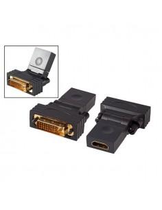 Адаптер HDMI 19P женски към DVI-D 24+1 мъжки въртящ се на 180° черен цвят