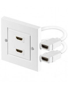 HDMI wallplate, 2x HDMI A female, shielded, RAL9010