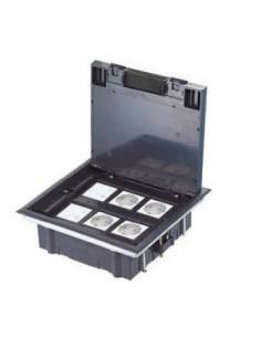 Floor box for raised floor for 12 modules 22.5x45 mm