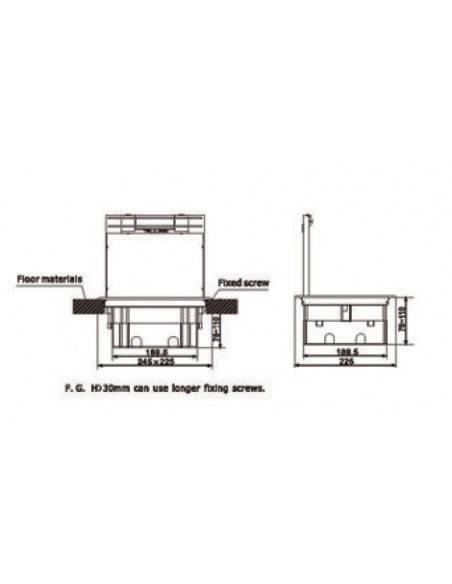 Подова кутия за монтаж в двоен под на 12 модула 22,5х45 мм