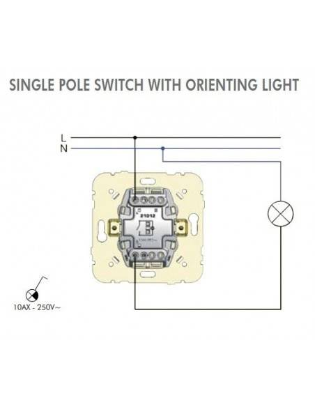 SINGLE POLE SWITCH WITH ORIENTING LIGHT