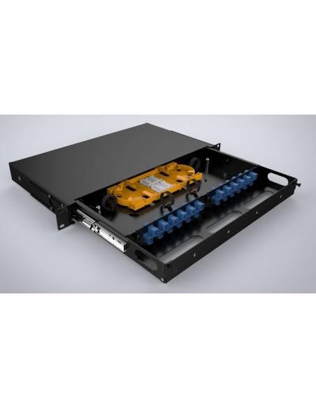 Fiber optic sliding patch panel ODF for 24 SC simplex adapters, unloaded MegaF - 2