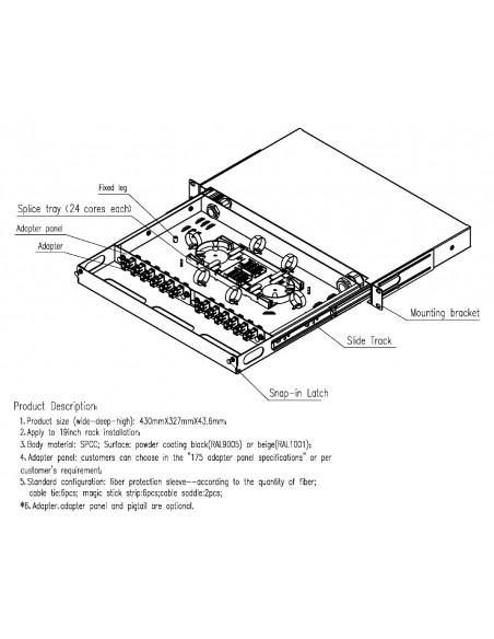 Fiber optic sliding patch panel ODF for 24 SC simplex adapters, unloaded MegaF - 1