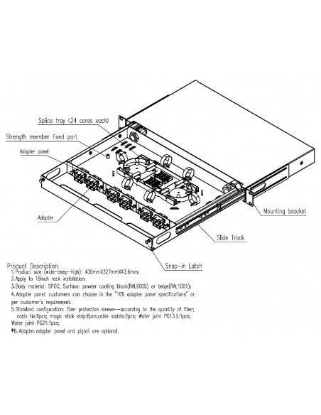 Fiber optic panel ODF 1U for 12 LC quad adapters