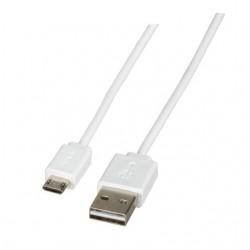USB 2.0 Кабел, който се обръща, Type A - Micro-B 5pol., 1 метър, бял