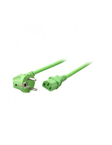 Power cable Schuko 90° - C13, 1,8m Green
