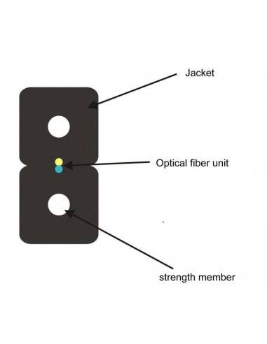 FTTH оптичен кабел 2xG657A 2xFRP PVC обвивка GJXFH-2B6b MegaF - 1