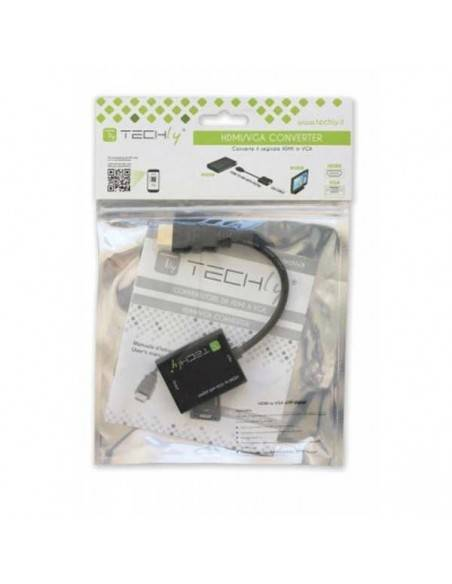 HDMI Adapter Cable, HDMI19 Typ A male - VGA female + Audio 3.5mm female Techly - 3