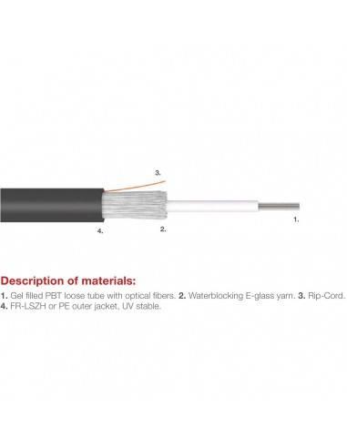 Fiber optic cable 4 fibers single mode OS2 indoor-outdoor LSZH KDP - 2