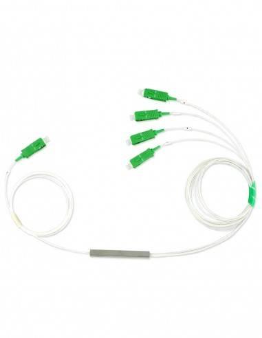 PLC fiber optic splitter 1x4 with SC APC connectors Blockless MegaF - 1