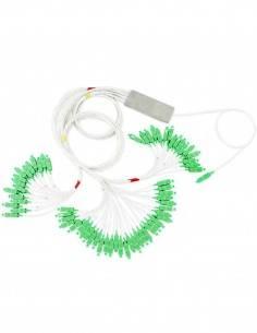 Оптичен сплитер за ПОН 1 към 64 със зелени конектори SC